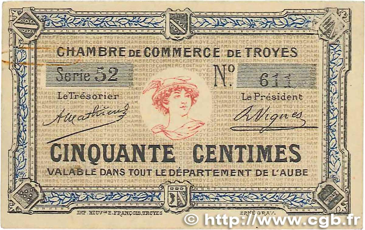 50 centimes france r gionalisme et divers troyes 1918 jp for Chambre de commerce de troyes