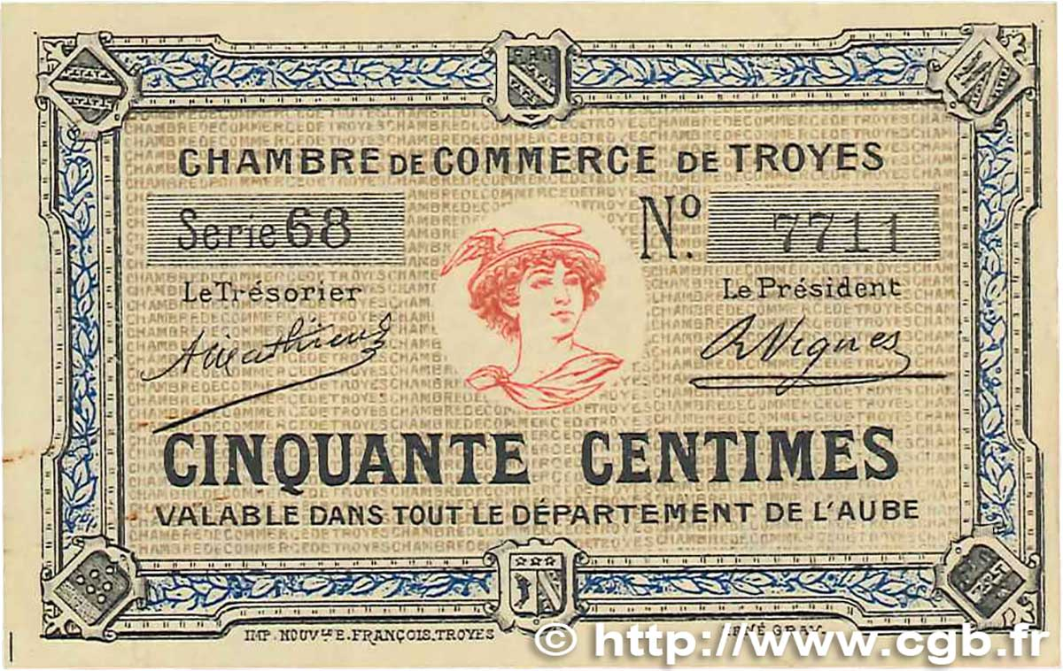 50 centimes france regionalism and various troyes 1918 axf b99 1990 banknotes. Black Bedroom Furniture Sets. Home Design Ideas