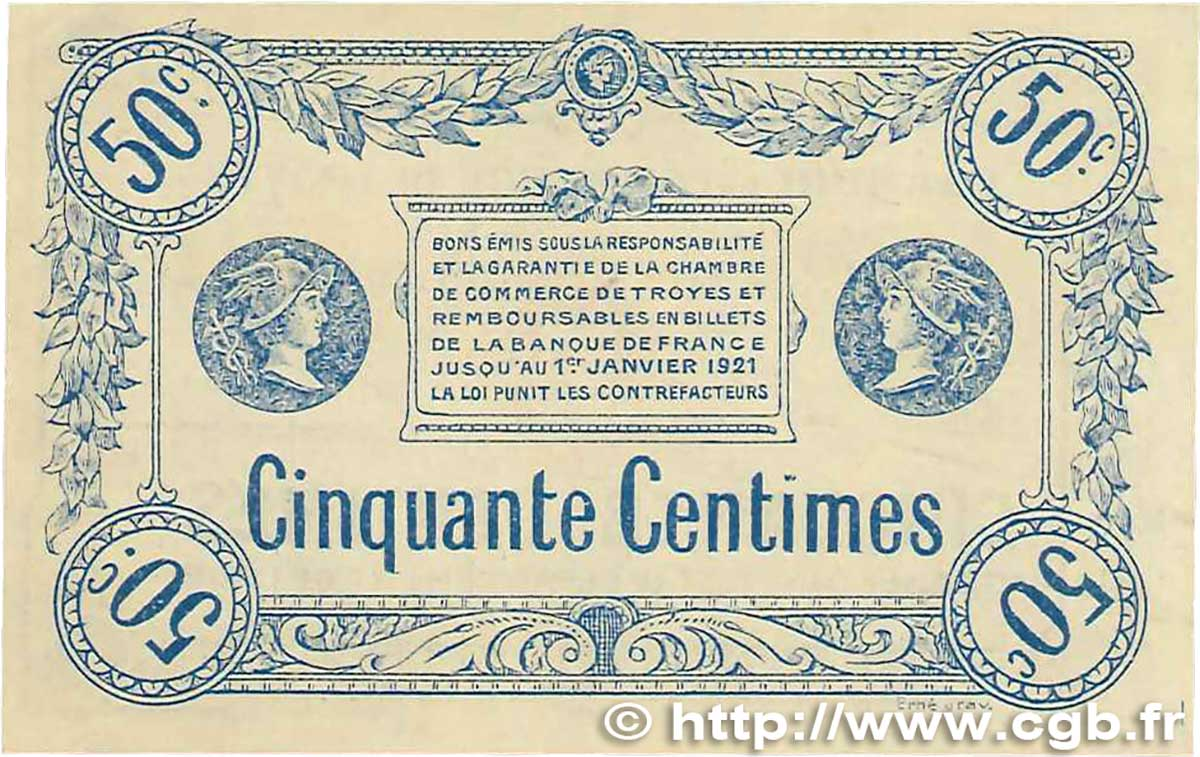50 centimes france r gionalisme et divers troyes 1918 ttb b99 1990 billets. Black Bedroom Furniture Sets. Home Design Ideas