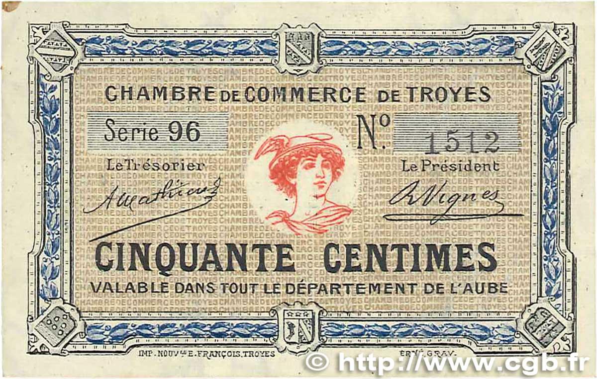 50 centimes france r gionalisme et divers troyes 1918 b99 1996 billets. Black Bedroom Furniture Sets. Home Design Ideas