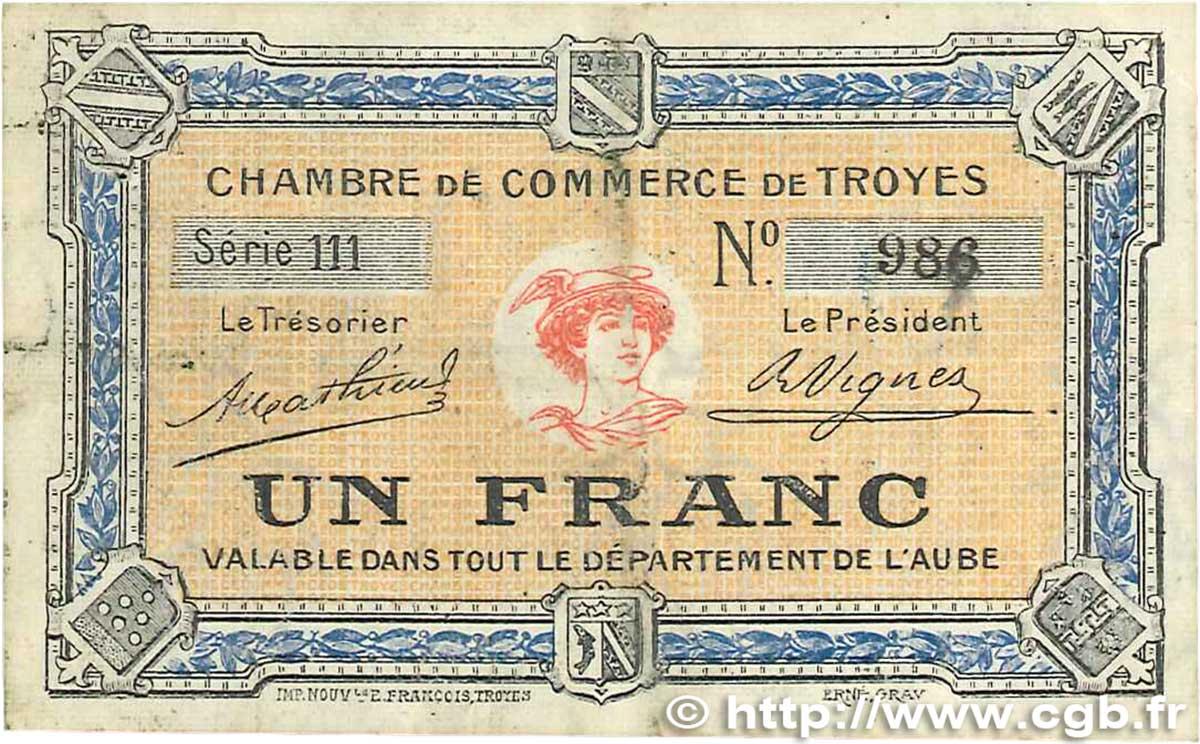 1 franc france r gionalisme et divers troyes 1918 b99 2001 billets. Black Bedroom Furniture Sets. Home Design Ideas