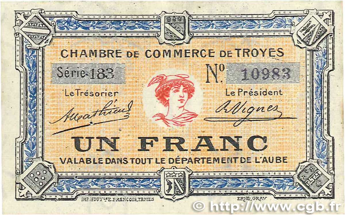 1 franc france r gionalisme et divers troyes 1918 b99 2002 billets. Black Bedroom Furniture Sets. Home Design Ideas