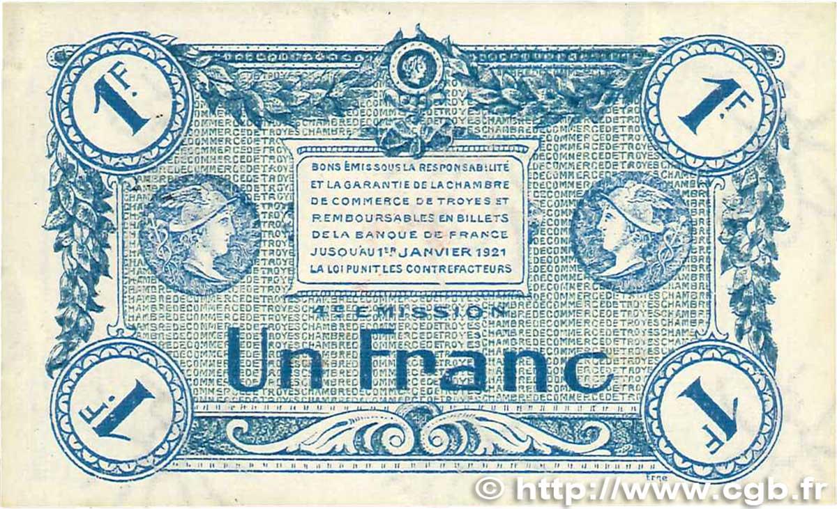 1 franc france r gionalisme et divers troyes 1918 sup b99 2003 billets. Black Bedroom Furniture Sets. Home Design Ideas