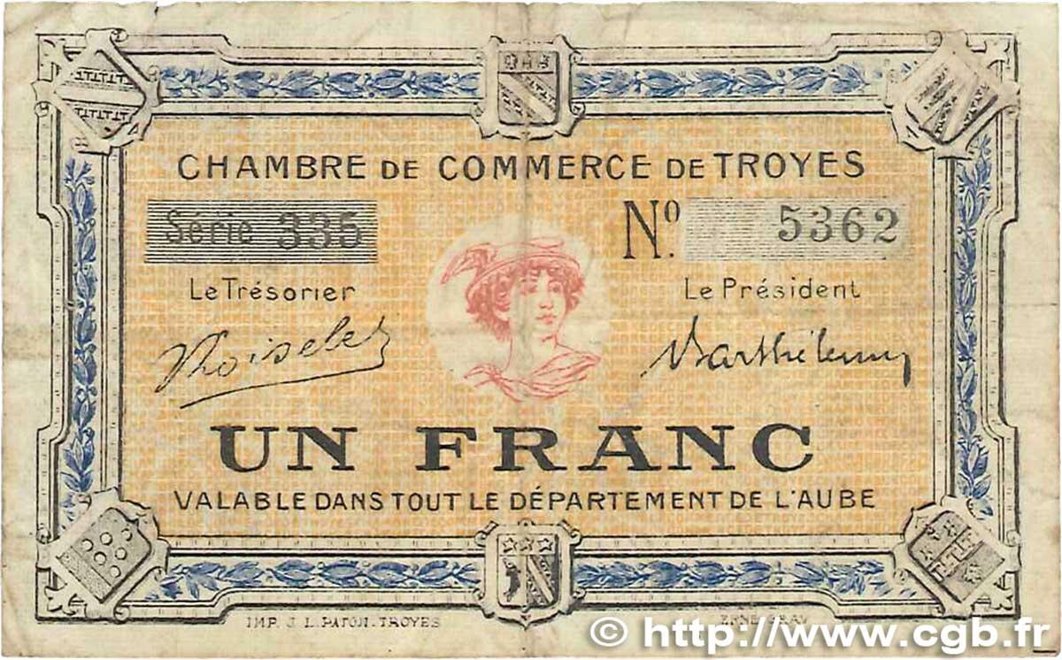 1 franc france r gionalisme et divers troyes 1918 b99 2007 billets. Black Bedroom Furniture Sets. Home Design Ideas