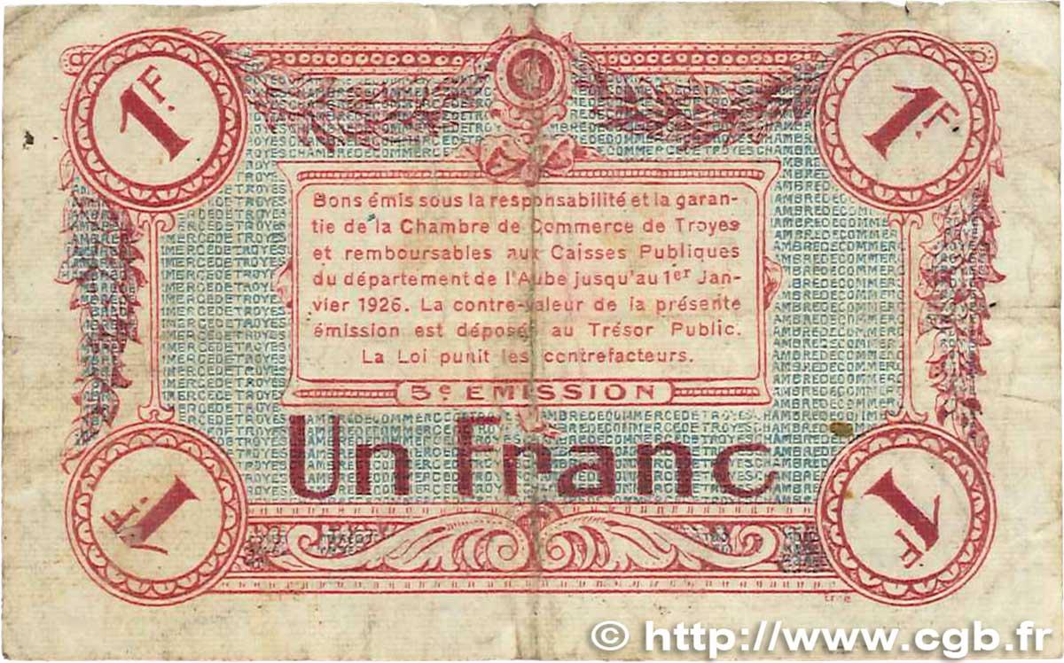 1 franc france r gionalisme et divers troyes 1918 tb b99 2007 billets. Black Bedroom Furniture Sets. Home Design Ideas