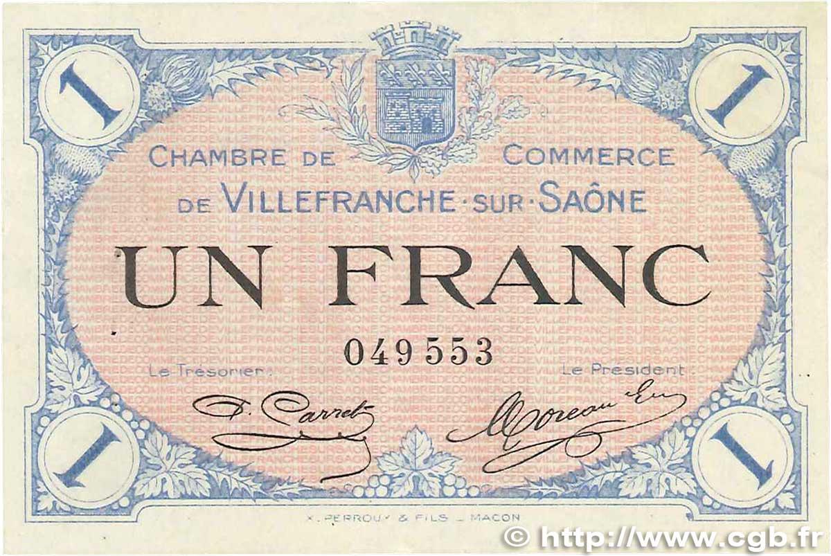 1 franc france regionalism and various villefranche sur sa ne 1915 axf b99 2077 banknotes. Black Bedroom Furniture Sets. Home Design Ideas