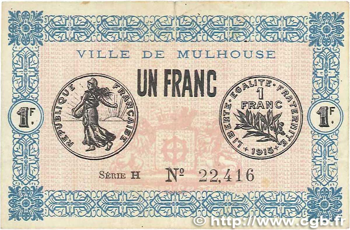 1 franc france r gionalisme et divers mulhouse 1918 for Chambre de commerce mulhouse