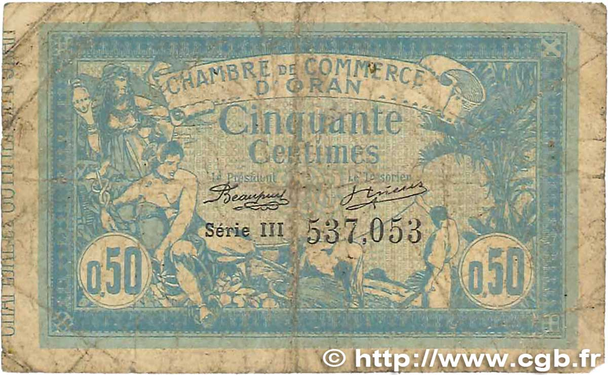 50 Centimes  FRANCE regionalism and miscellaneous Oran 1915 JP.141.04 G