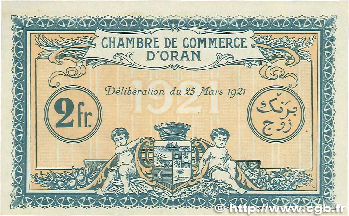 2 francs france r gionalisme et divers oran 1921 for Chambre de commerce francaise en algerie
