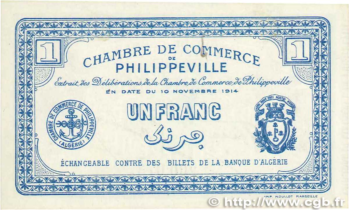 1 franc france r gionalisme et divers philippeville 1914 for Chambre de commerce francaise en algerie