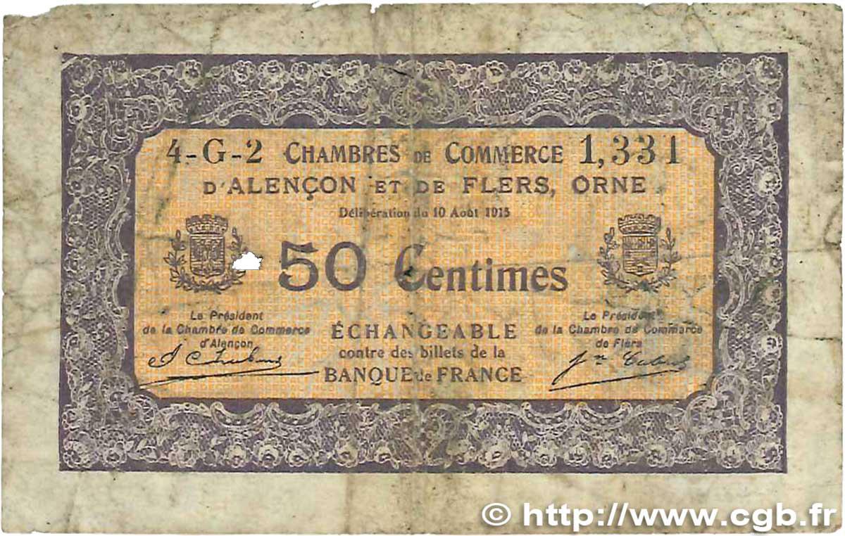 50 centimes france r gionalisme et divers alencon et flers 1915 b99 2408 billets. Black Bedroom Furniture Sets. Home Design Ideas