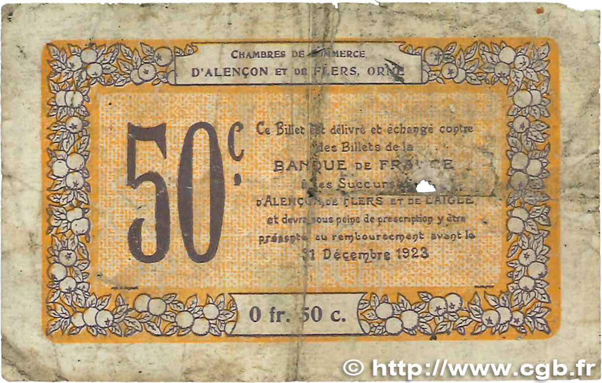 50 centimes france r gionalisme et divers alencon et flers 1915 b b99 2408 billets. Black Bedroom Furniture Sets. Home Design Ideas