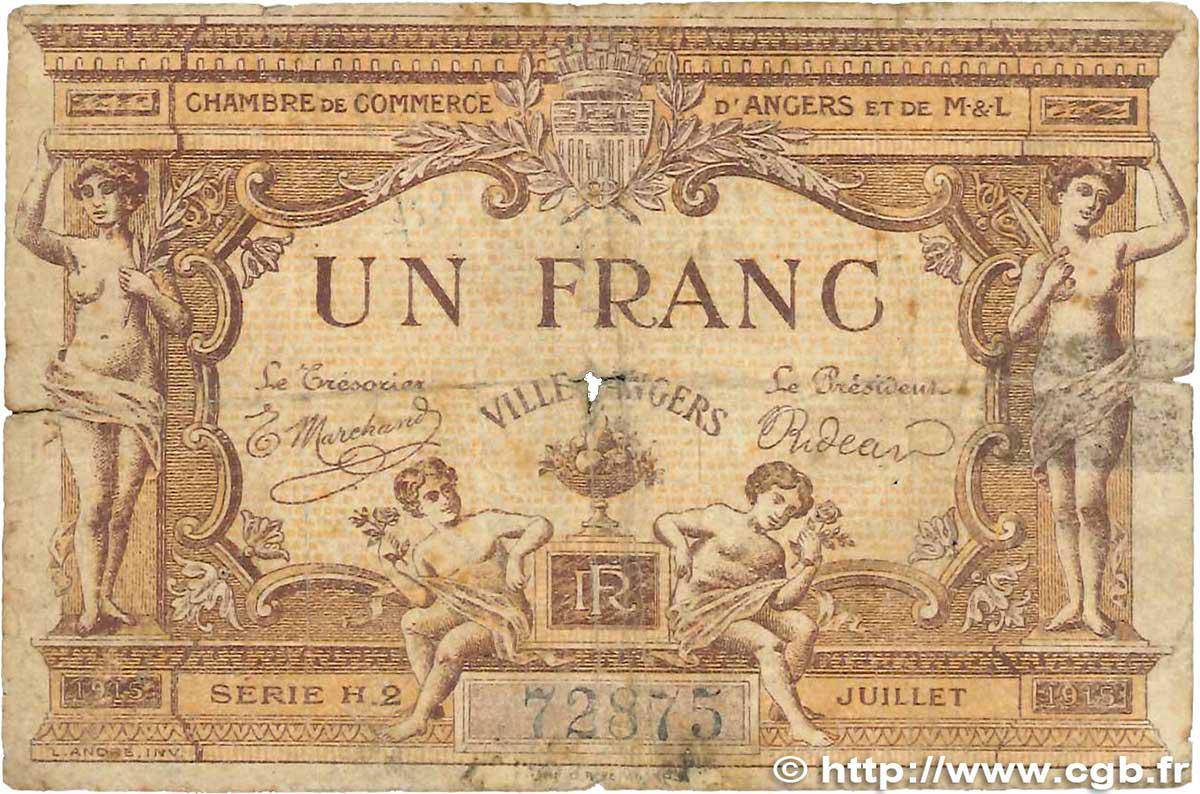 1 franc france r gionalisme et divers angers 1915 b99 2431 billets. Black Bedroom Furniture Sets. Home Design Ideas
