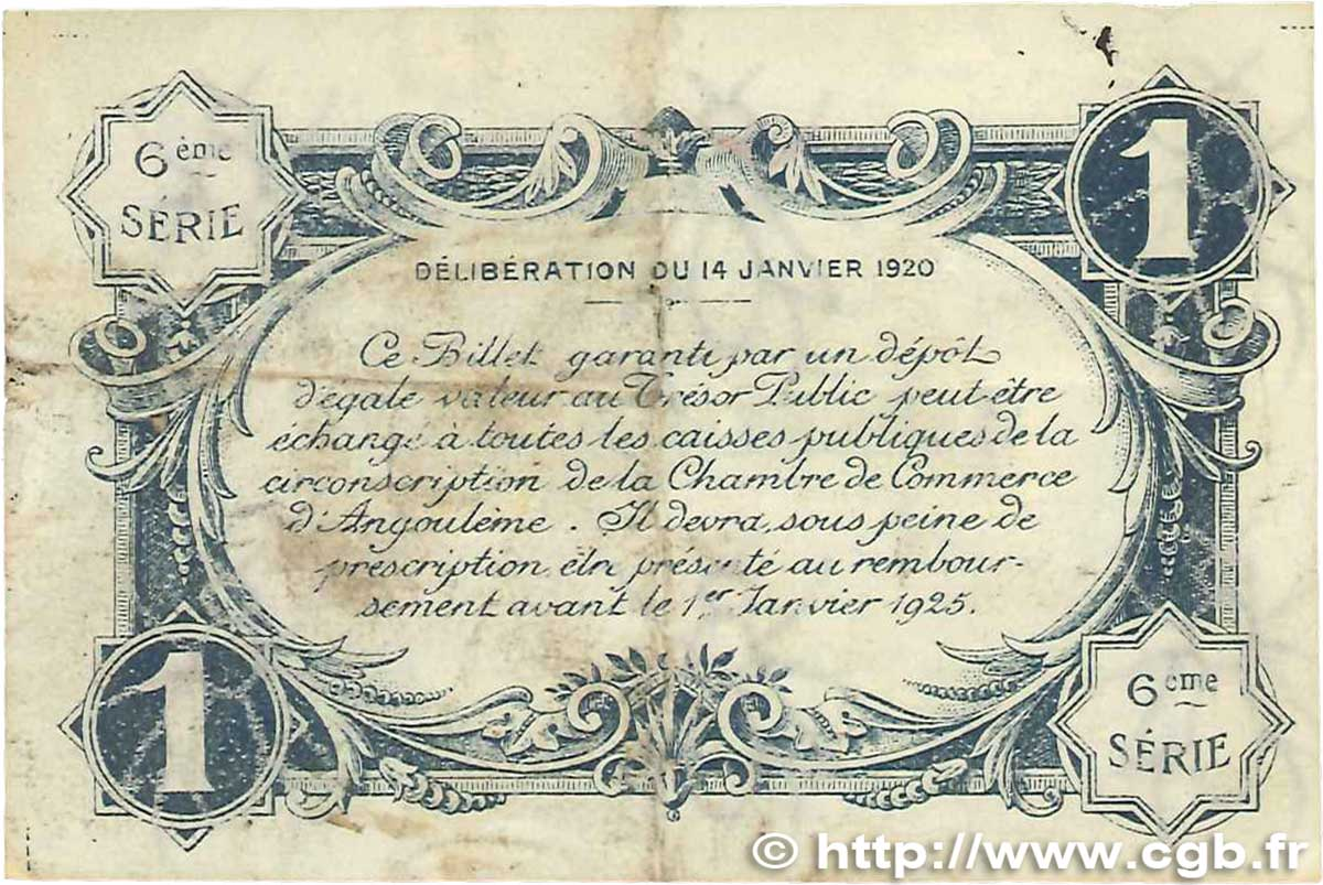 1 franc france r gionalisme et divers angoul me 1920 jp for Chambre de commerce angouleme