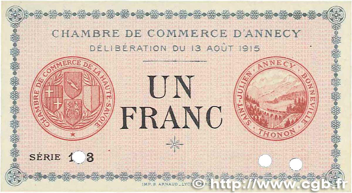 1 franc france r gionalisme et divers annecy 1915 neuf b99 2447 billets. Black Bedroom Furniture Sets. Home Design Ideas