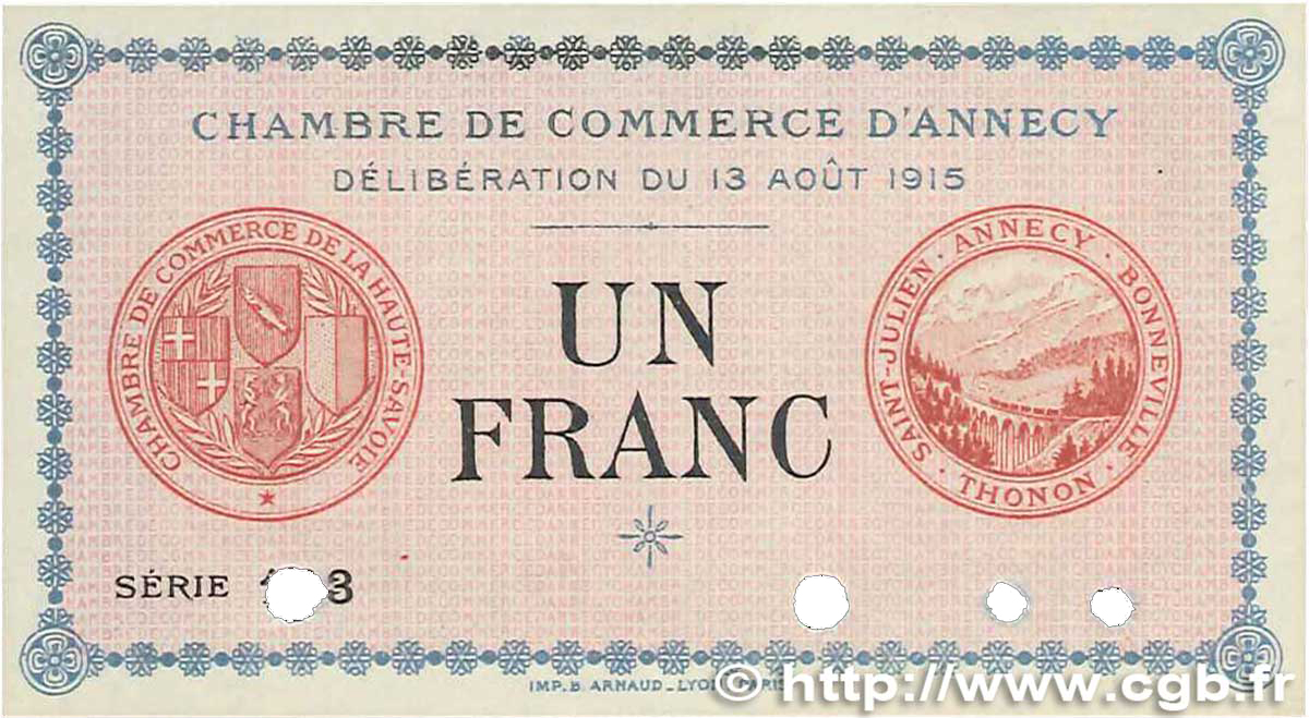1 franc france r gionalisme et divers 1915 for Chambre de commerce annecy