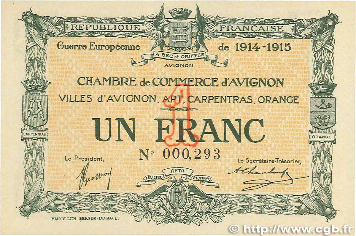 1 franc france regionalism and miscellaneous avignon 1915 for Chambre de commerce d avignon
