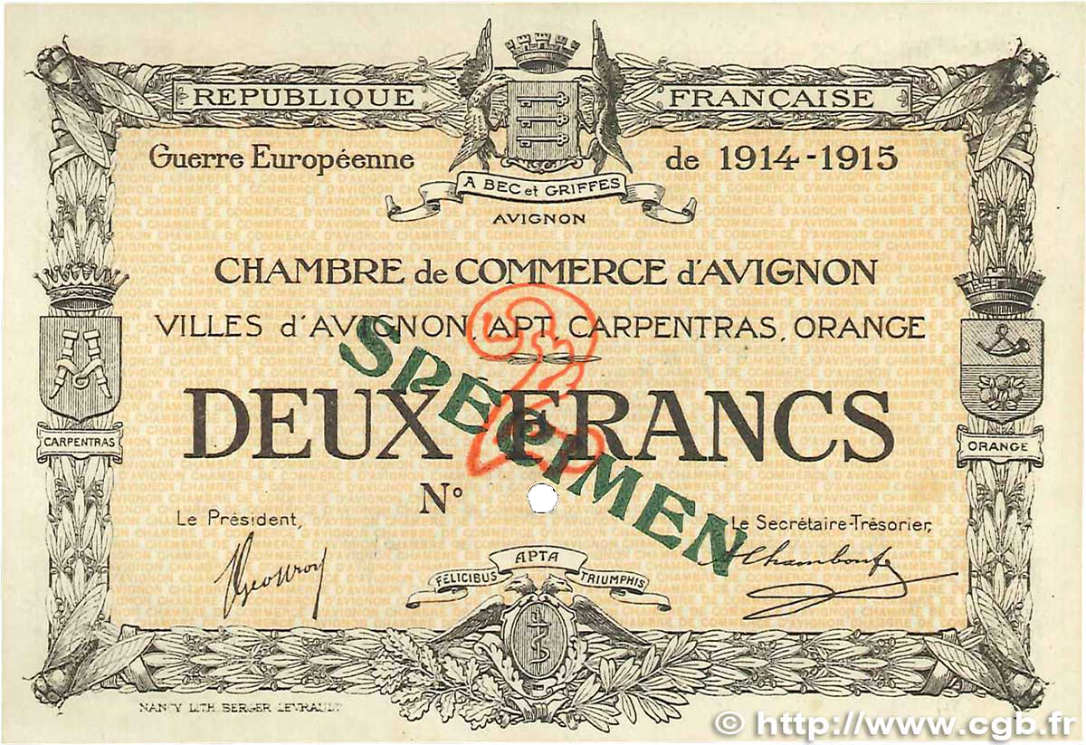 2 francs france r gionalisme et divers avignon 1915 for Chambre de commerce d avignon