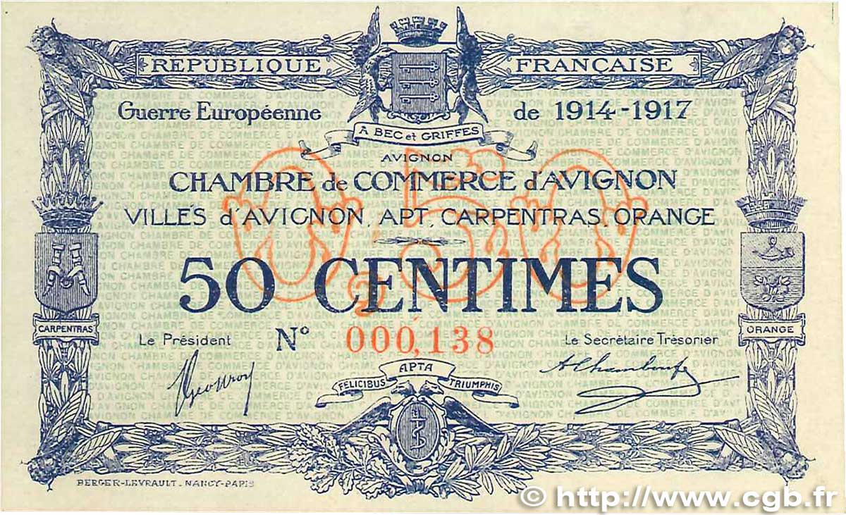 50 Centimes France Regionalism And Various Avignon 1915 Jp
