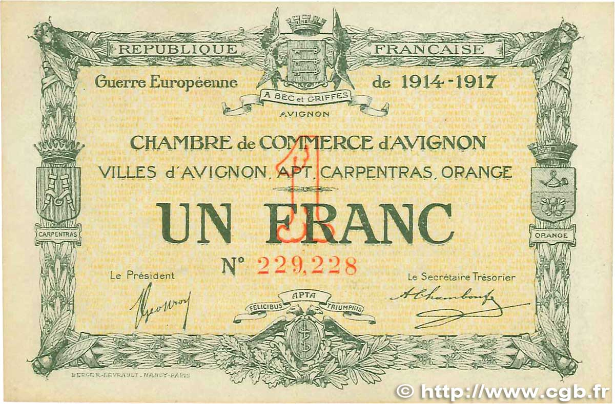 1 franc france r gionalisme et divers avignon 1915 for Chambre de commerce d avignon