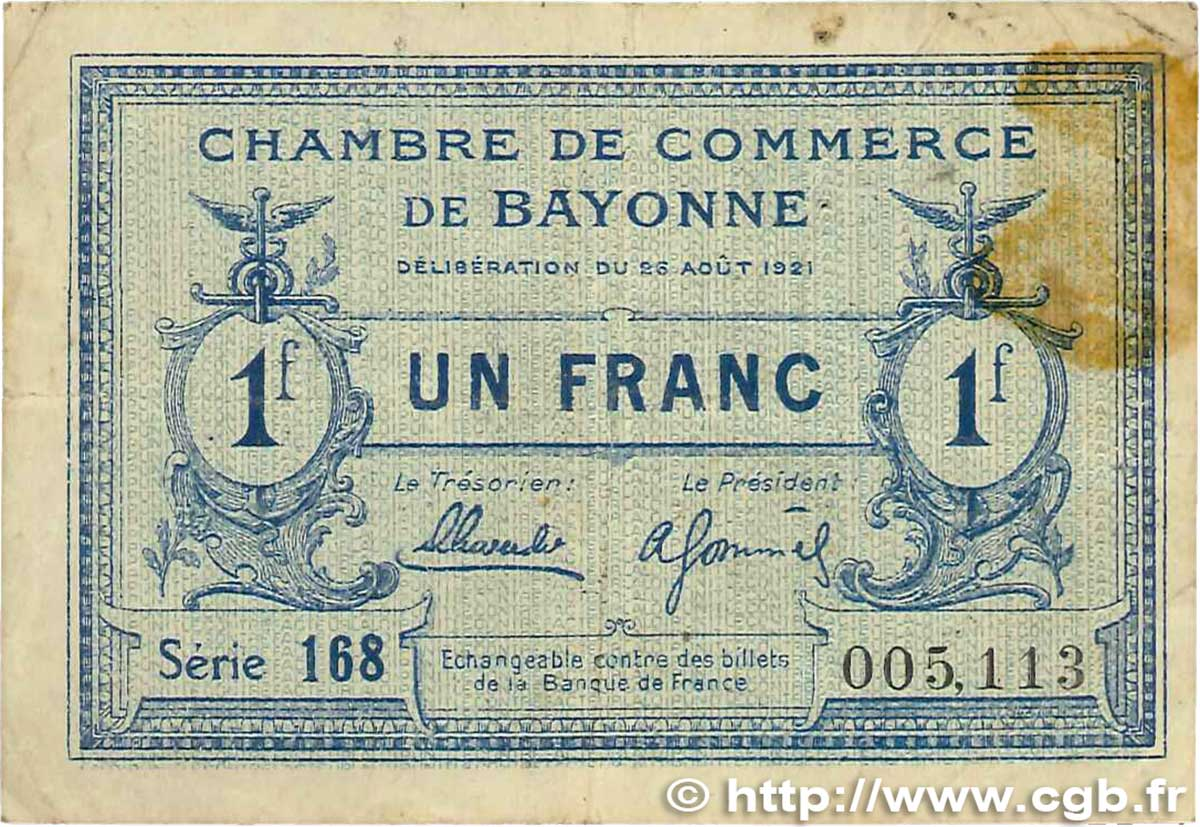 1 franc france r gionalisme et divers bayonne 1921 for Chambre de commerce mirabel