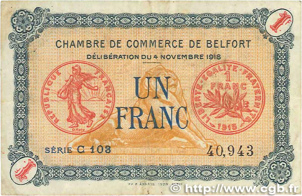 1 franc france r gionalisme et divers belfort 1918 b99 2536 billets. Black Bedroom Furniture Sets. Home Design Ideas