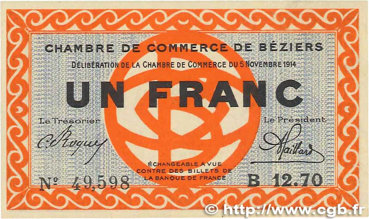 1 franc france r gionalisme et divers b ziers 1914 b99 2562 billets. Black Bedroom Furniture Sets. Home Design Ideas