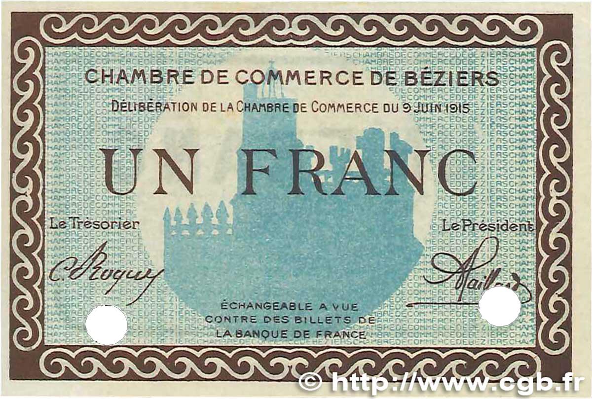 1 franc france r gionalisme et divers b ziers 1915 b99 2568 billets. Black Bedroom Furniture Sets. Home Design Ideas