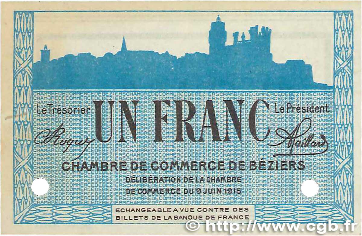 1 franc france regionalismus und verschiedenen b ziers 1915 b99 2569 banknoten. Black Bedroom Furniture Sets. Home Design Ideas