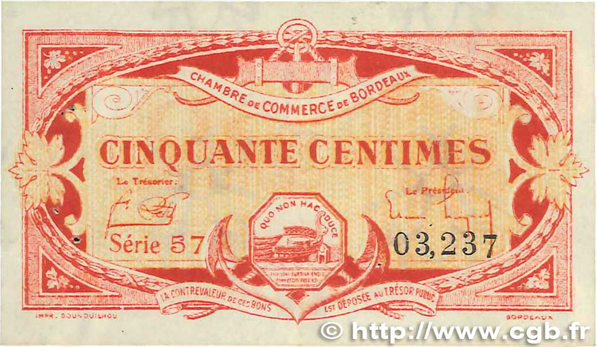 50 Centimes  FRANCE régionalisme et divers Bordeaux 1920 JP.030.24 SUP
