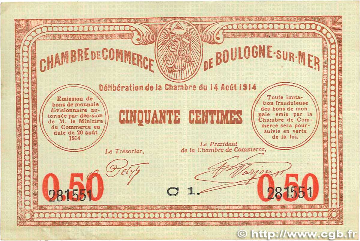 50 centimes france regionalism and miscellaneous boulogne sur mer 1914 jp03114 vf