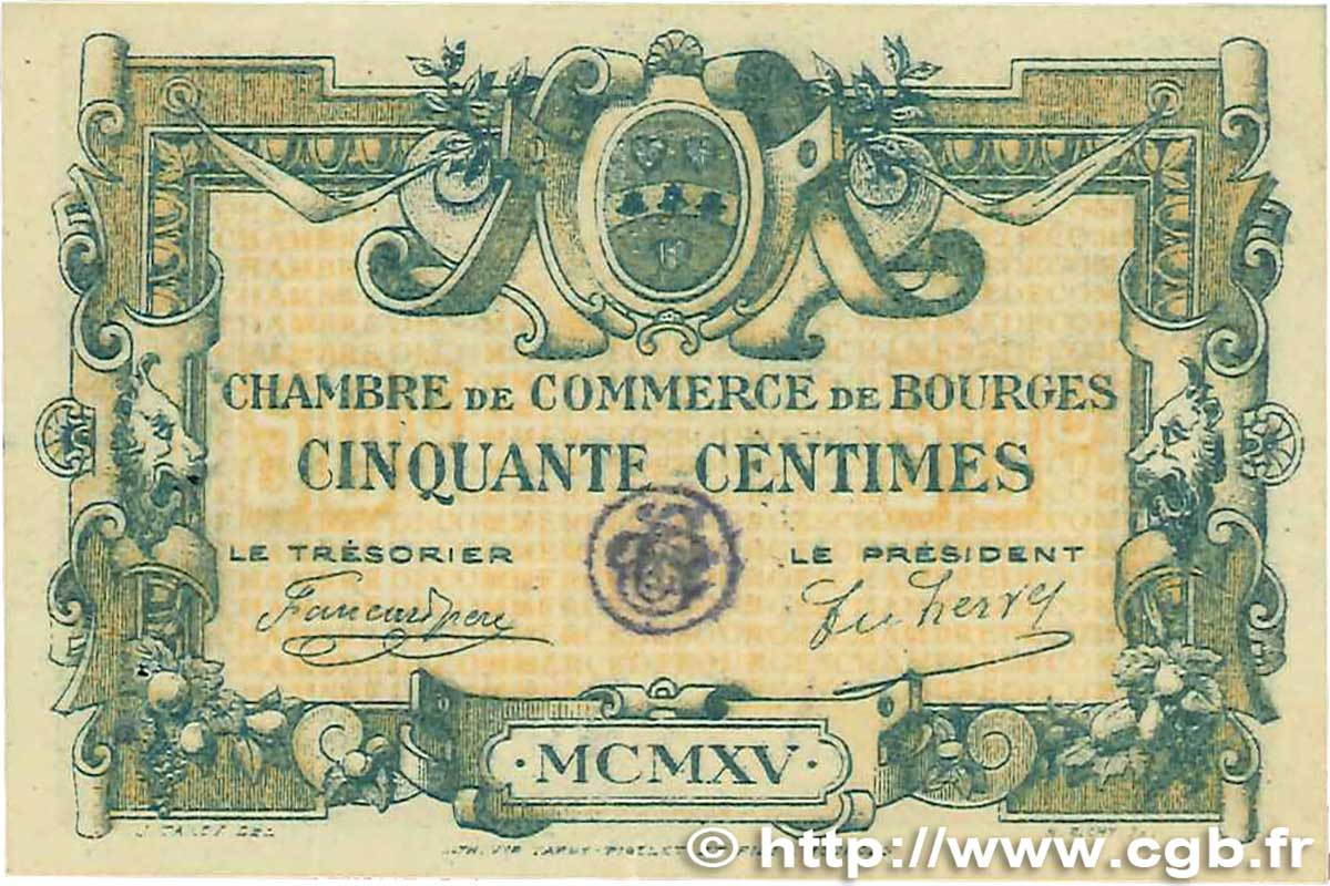 50 centimes france r gionalisme et divers bourges 1915 b99 2627 billets. Black Bedroom Furniture Sets. Home Design Ideas