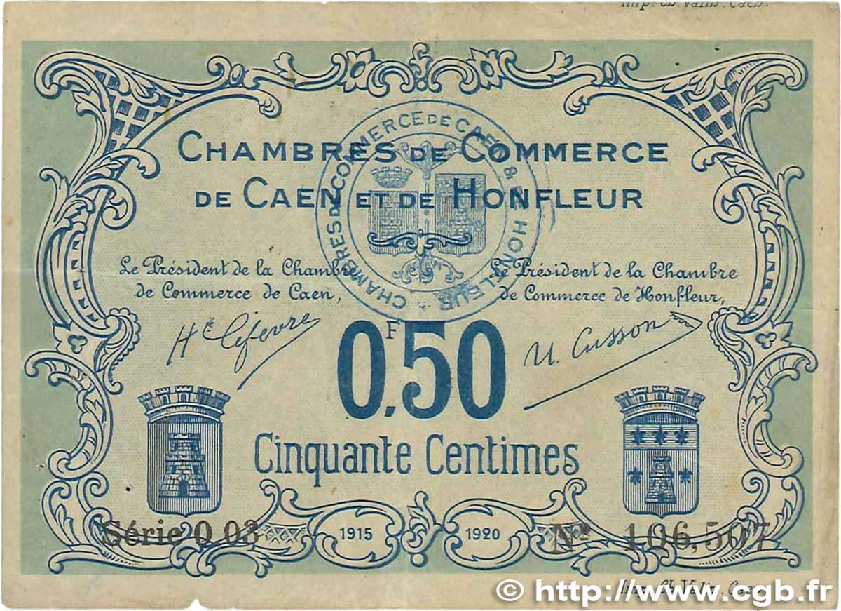 50 centimes france r gionalisme et divers caen et honfleur 1915 b99 2631 billets. Black Bedroom Furniture Sets. Home Design Ideas