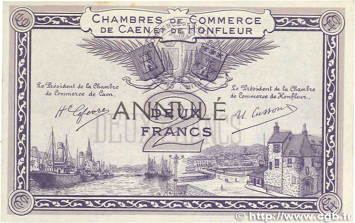 2 francs annul france r gionalisme et divers caen et honfleur 1915 b99 2643 billets. Black Bedroom Furniture Sets. Home Design Ideas