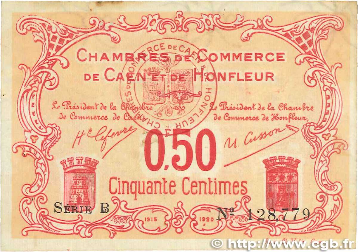 50 centimes france r gionalisme et divers caen et honfleur 1918 b99 2645 billets. Black Bedroom Furniture Sets. Home Design Ideas