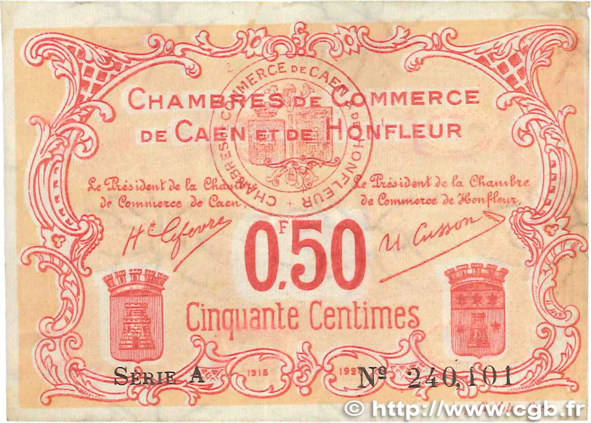 50 centimes france r gionalisme et divers caen et honfleur 1918 b99 2647 billets. Black Bedroom Furniture Sets. Home Design Ideas