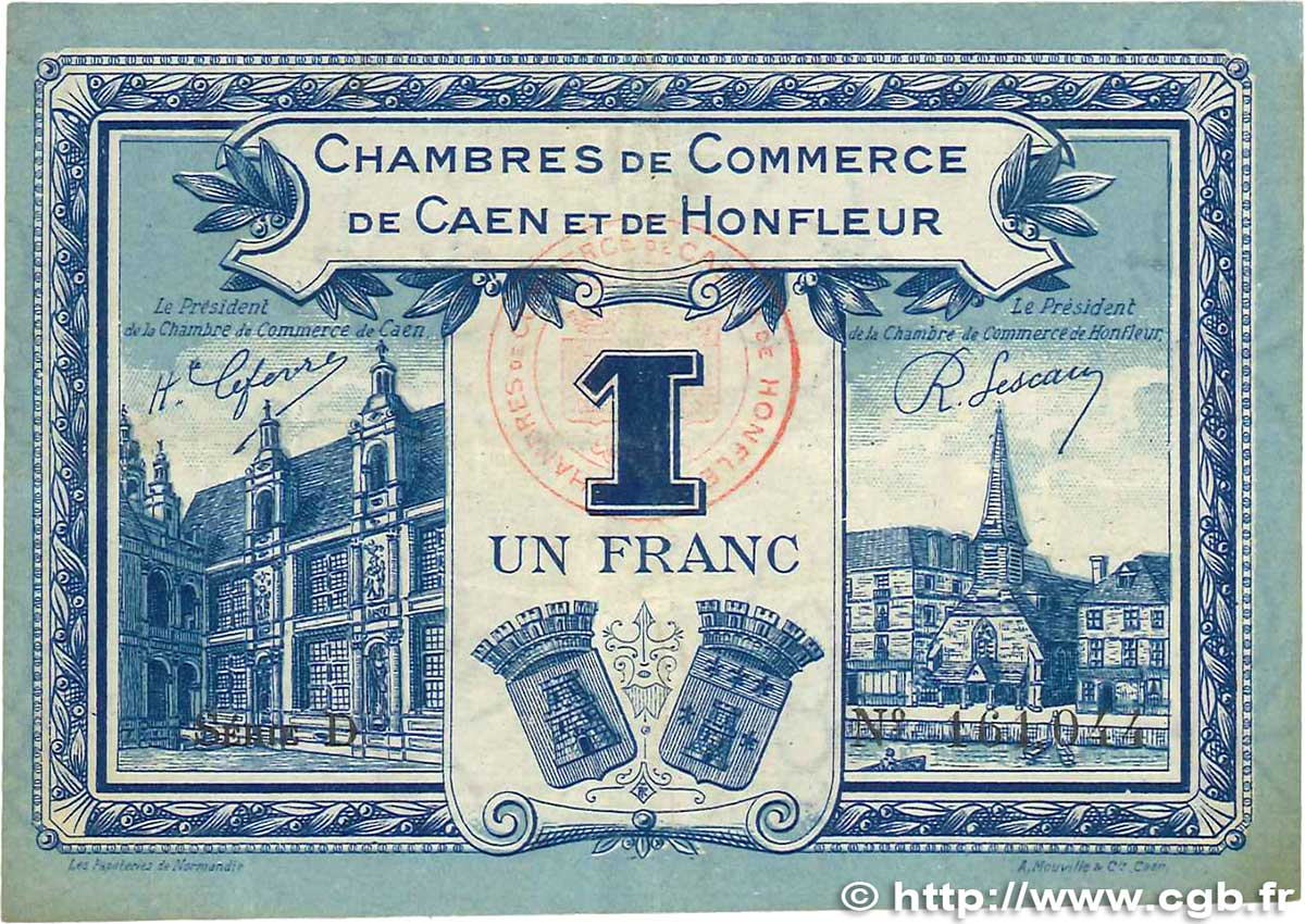 1 franc france regionalism and miscellaneous caen et honfleur 1920 b99 2661 banknotes. Black Bedroom Furniture Sets. Home Design Ideas