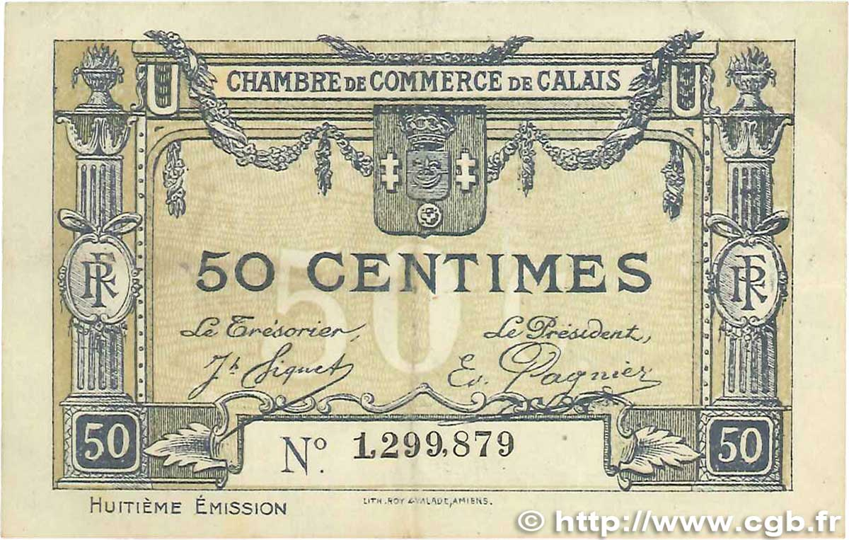 50 Centimes  FRANCE regionalism and miscellaneous Calais 1920 JP.036.42 VF