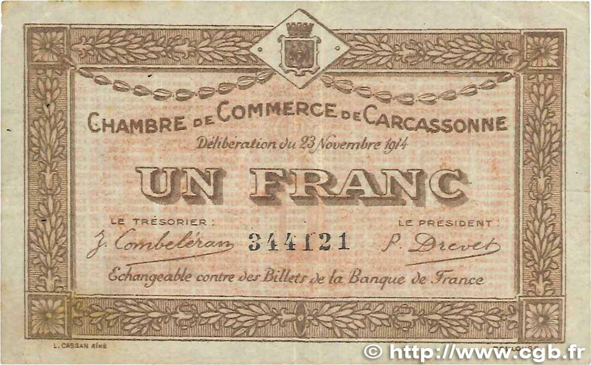 1 franc france r gionalisme et divers carcassonne 1914 b99 2732 billets - Chambre de commerce carcassonne ...