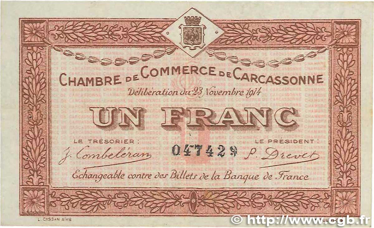 1 franc france regionalism and miscellaneous carcassonne 1914 b99 2733 banknotes - Chambre de commerce carcassonne ...