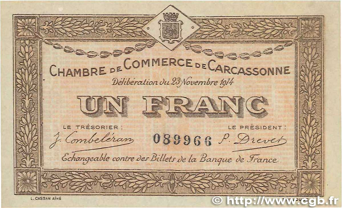 1 franc france regionalism and various carcassonne 1914 xf b99 2735 banknotes - Chambre de commerce carcassonne ...