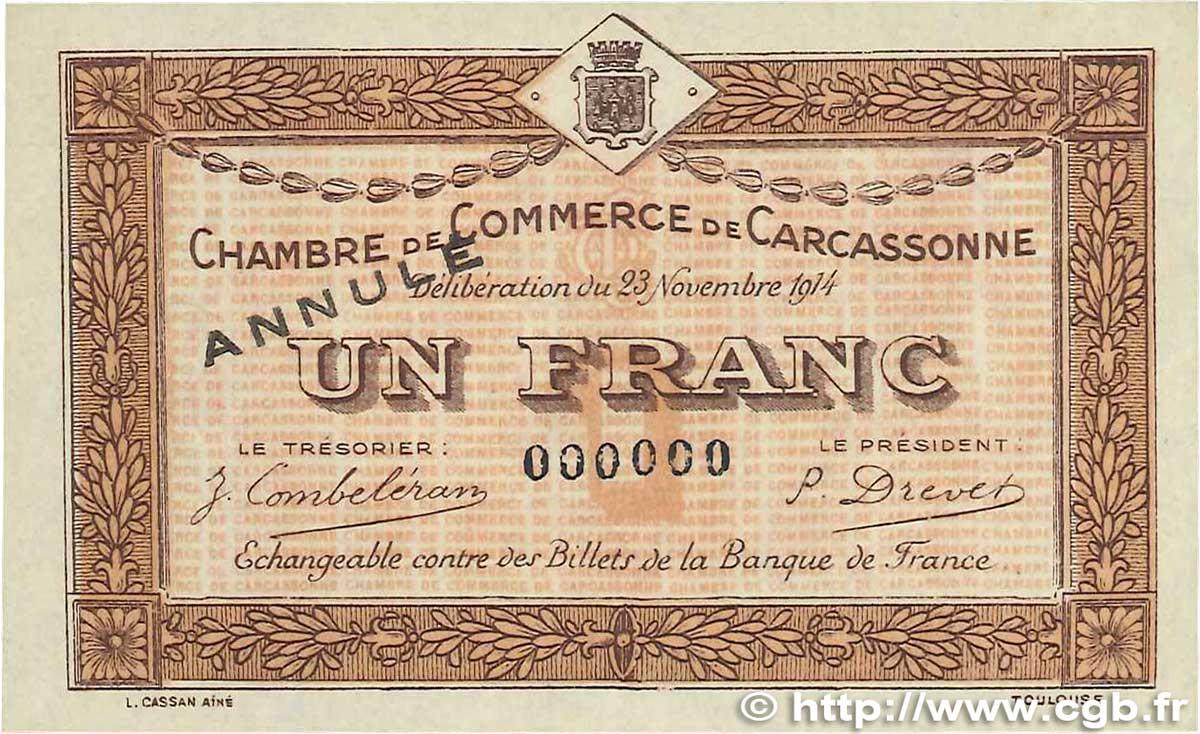 1 franc france r gionalisme et divers carcassonne 1914 spl b99 2737 billets - Chambre de commerce carcassonne ...