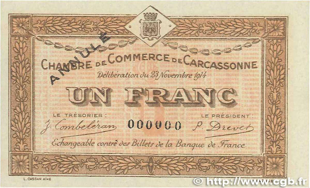 1 franc france regionalism and miscellaneous carcassonne 1914 unc b99 2739 banknotes - Chambre de commerce carcassonne ...