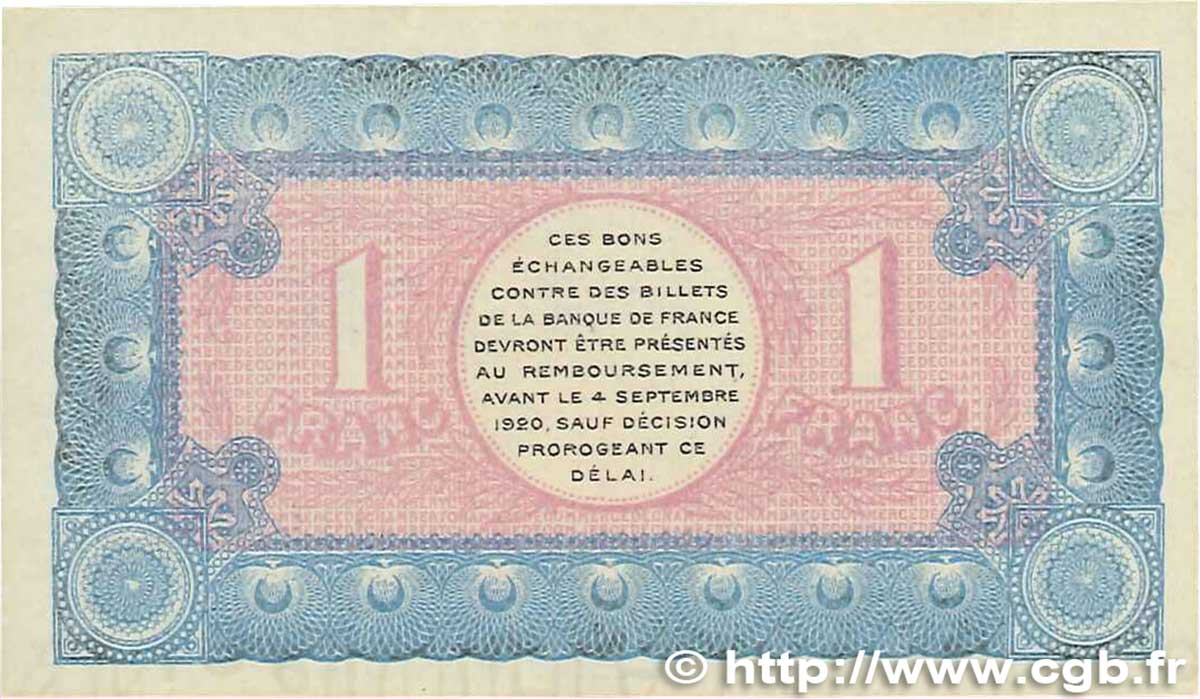 1 franc france regionalism and miscellaneous chamb ry 1915 aunc b99 2795 banknotes. Black Bedroom Furniture Sets. Home Design Ideas