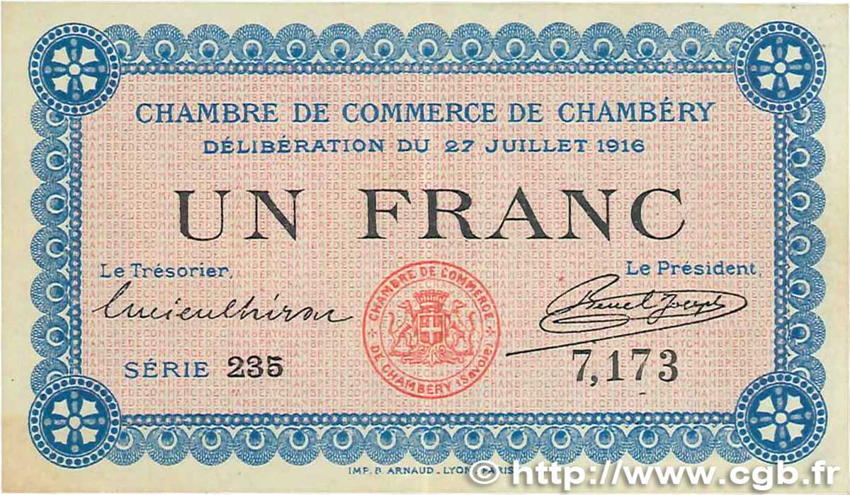 1 franc france r gionalisme et divers chamb ry 1916 - Chambre de commerce chambery ...