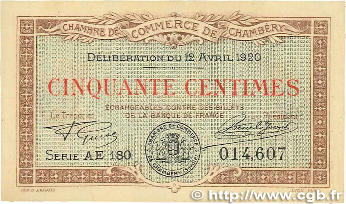 50 centimes france regionalism and various chamb ry 1920 au b99 2806 banknotes. Black Bedroom Furniture Sets. Home Design Ideas