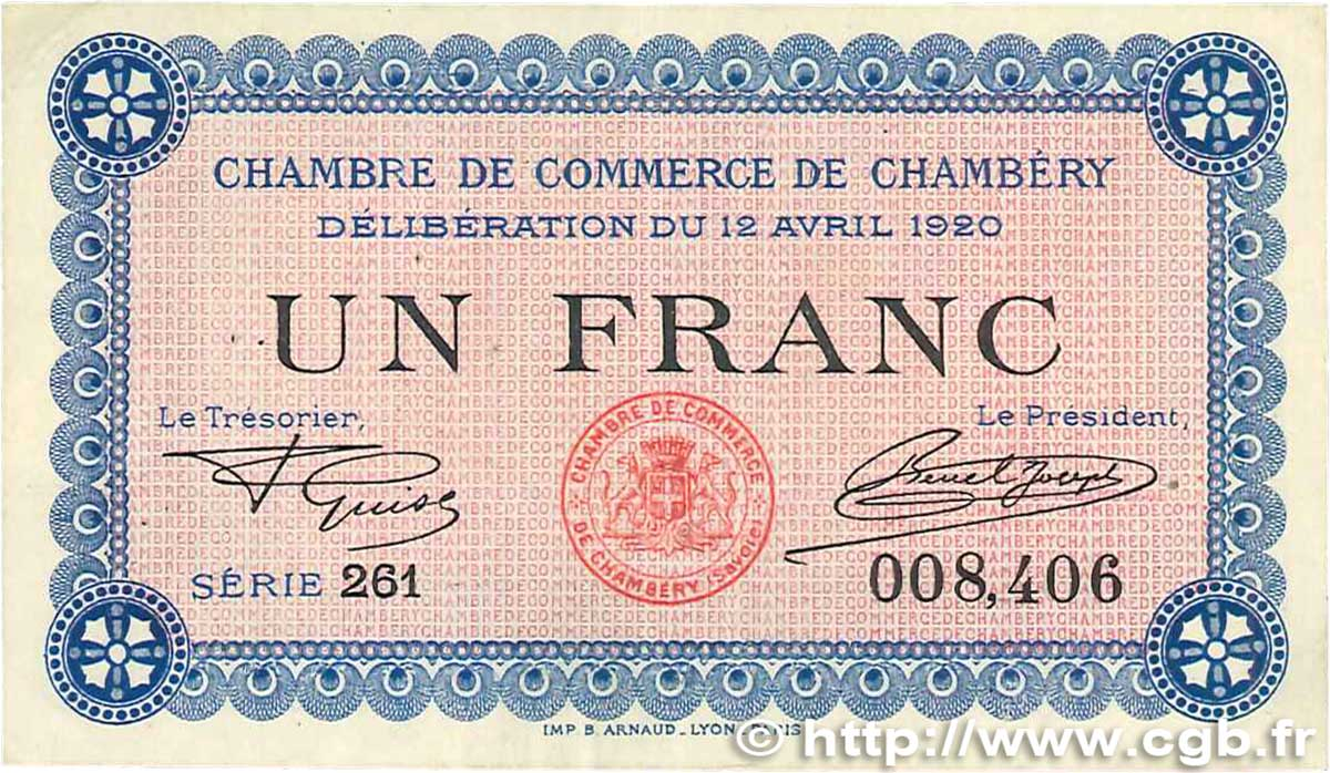 1 franc france regionalismus und verschiedenen chamb ry 1920 b99 2810 banknoten. Black Bedroom Furniture Sets. Home Design Ideas