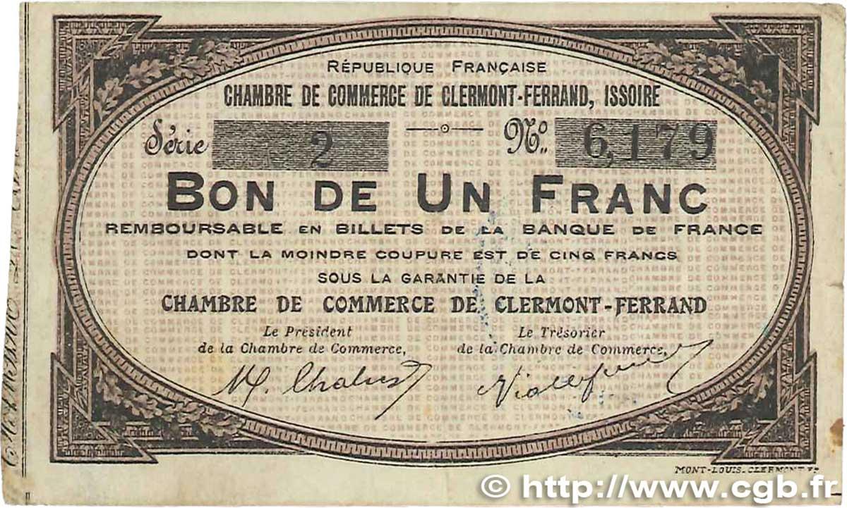 1 franc france r gionalisme et divers clermont ferrand - Chambre de commerce de clermont ferrand ...