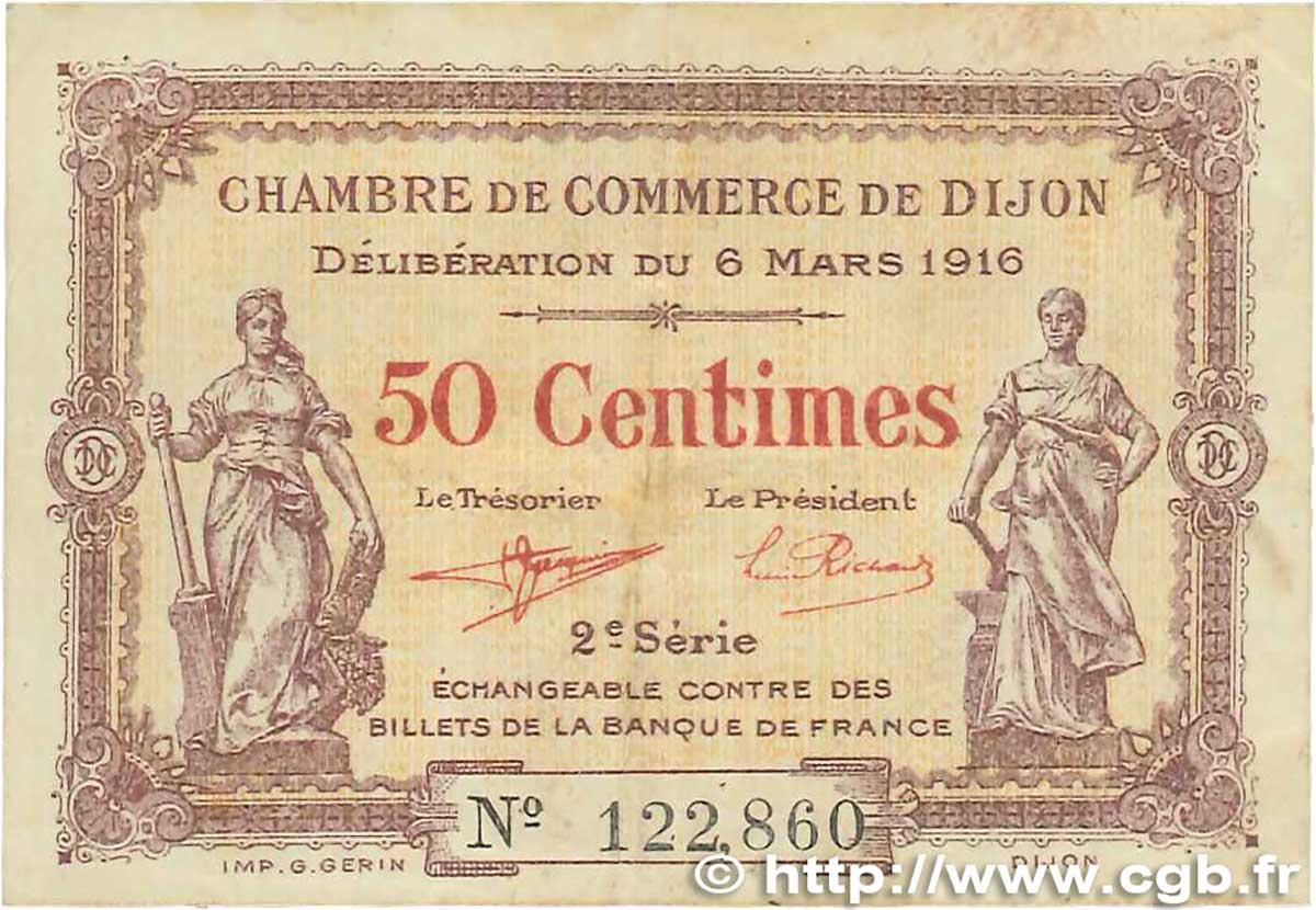 50 centimes france regionalismus und verschiedenen dijon 1916 b99 2945 banknoten. Black Bedroom Furniture Sets. Home Design Ideas