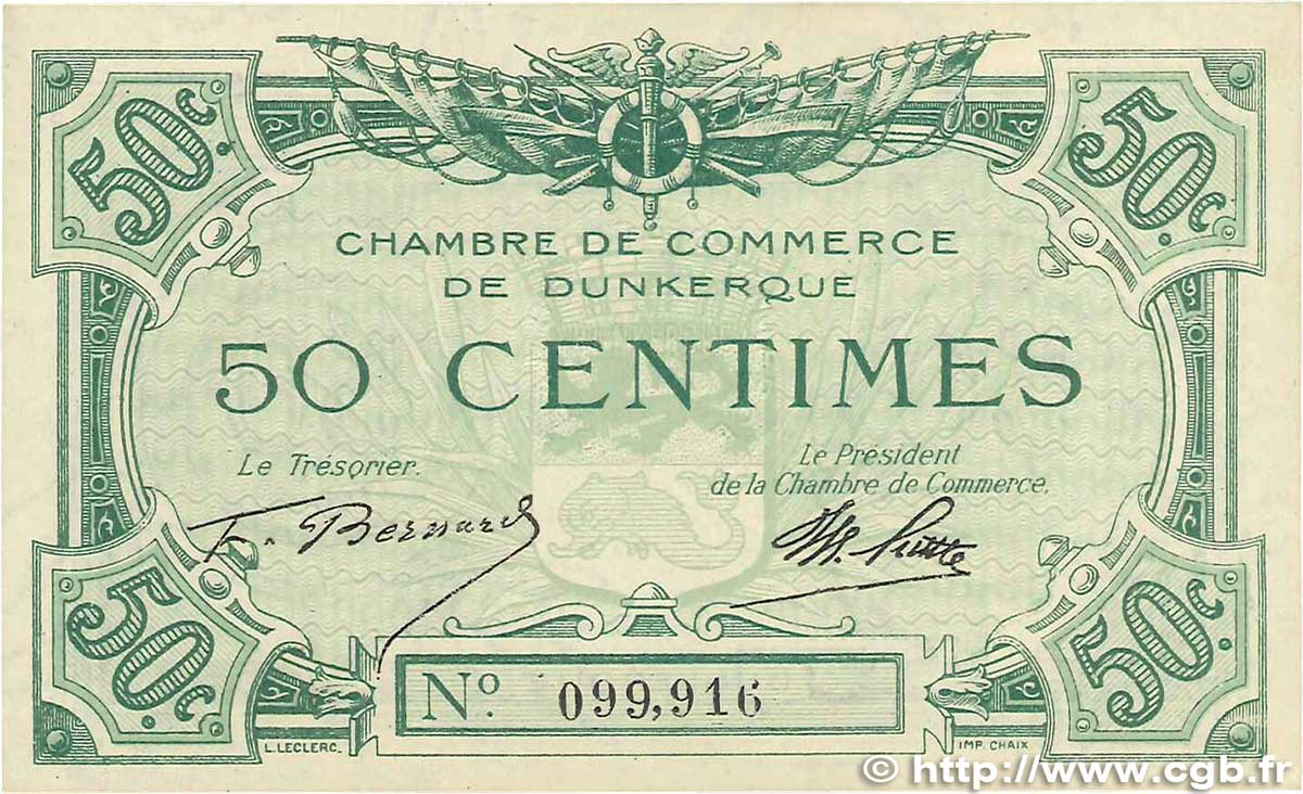50 centimes france regionalism and various dunkerque 1918 for Chambre de commerce dunkerque